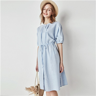 Linen cotton short sleeve shirt dress